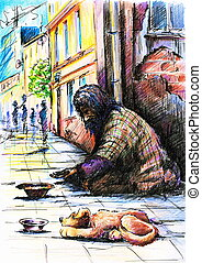 Beggar with dog on the street. Picture created with pen and ...