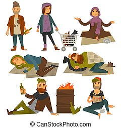 Beggars and bum or vagrant homeless people vector flat...