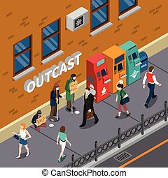 Beggars At Street Isometric Illustration - Beggars at street...