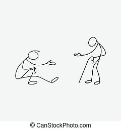 Beggars stick men vector asking for charity