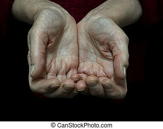 Begging alms by the hand of the pensioner.