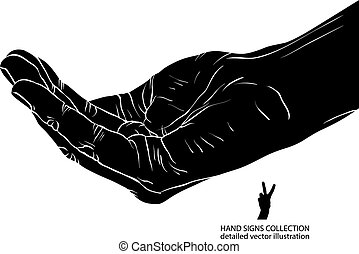 Begging hand, detailed black and white vector illustration.