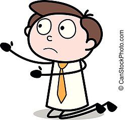 Begging - Office Businessman Employee Cartoon Vector Illustration?