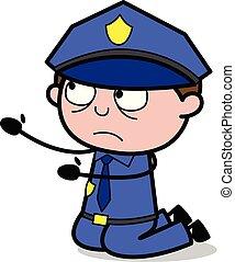 Begging - Retro Cop Policeman Vector Illustration