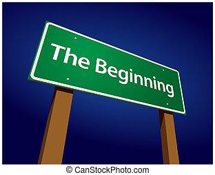 begin, groene, straat, illustratie, meldingsbord