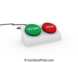 begin knop, stoppen, 3d