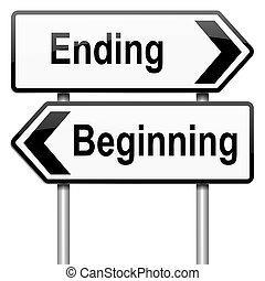 Illustration depicting a roadsign with a beginning or ending concept. White background.