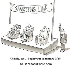 Begin Sedentary Life - Cartoon about men beginning their...