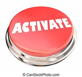 beginnen, activeren, activering, illustratie, begin knop, 3d