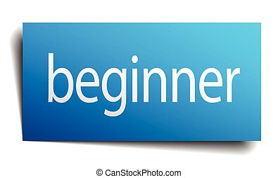 beginner blue square isolated paper sign on white
