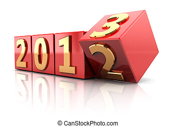 Beginning new year - Red cubes with number of beginning new...