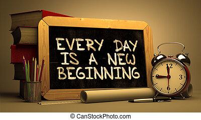 beginning., nuevo, inspirador, cada día, quote.