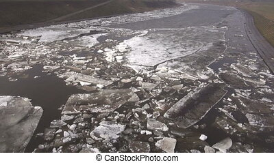 beginning of  ice drift on river