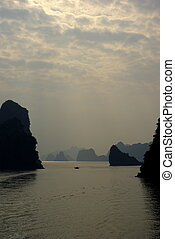 Beginning of sunset in Halong bay