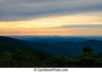 Beginning of Sunset Over Blue ridge Mountains