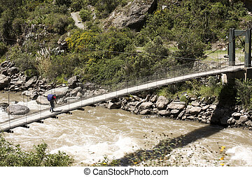 Beginning of the Inca Trail - Foot bridge over the Urubamba...
