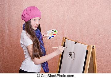 begint, afbeelding, trekken, schildersezel, meisje