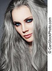 begli occhi, donna, fumoso, giovane, lungo, capelli grigi, trucco, ritratto, elegante