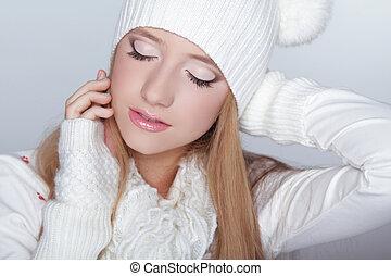 begli occhi, donna, inverno, bellezza, face., makeup., ritratto, modello, ragazza