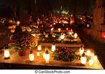 begraafplaats, op de avond