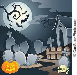 begraafplaats, thema, beeld, 1