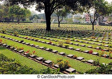 begraafplaats, van, wereldoorlog, 2, slachtoffers, kanchanaburi, thailand