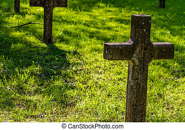 begrafenis, oud, verlaten, missie, spaanse , terrein