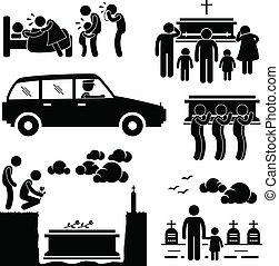 begravelsen, ceremoni begravelse, pictogram