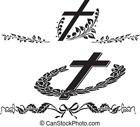 begravning, krans, kors