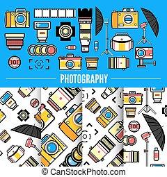 begreb, apparatur fotografi, sæt formgiv, photograpy