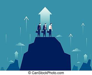 begreb, bjerg, illustration., vektor, forretningsmand, success., growt., beliggende, hold, firma, højdepunkt