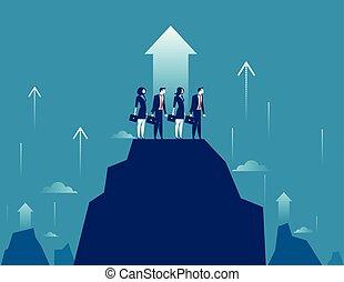begreb, bjerg, illustration., vektor, success., growt., beliggende, hold, firma, højdepunkt