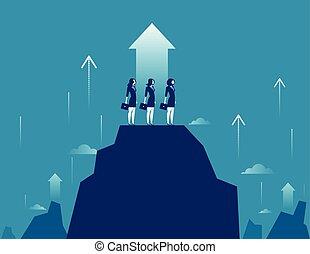 begreb, bjerg, illustration., vektor, success., growt., businesswomen, beliggende, hold, firma, højdepunkt