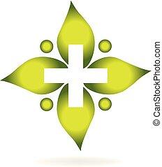 begreb, blad, medicinsk, kors, vektor, logo, ikon