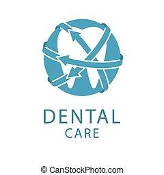 begreb, dentale, facon, tand, sundhed, logo, omsorg