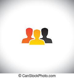 begreb, farverig, og, folk, samfund, hold, vektor, teamwork