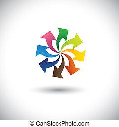 begreb, farverig, -, pile, hold, teamwork, vector., fremmarch
