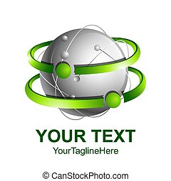 begreb, farvet, abstrakt, omløbsbaner, kreative, sphere, vektor, grønne, skabelon, logo, konstruktion, 3, sølv, element., ikon