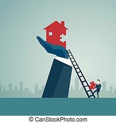 begreb, finans, firma, stige, oppe, hus, bygge, forretningsmand, held, klatre, stairs, mand