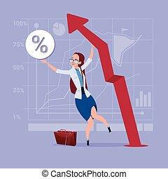 begreb, finansiel fremgang, firma, oppe, kvinde, pil, greb, rød