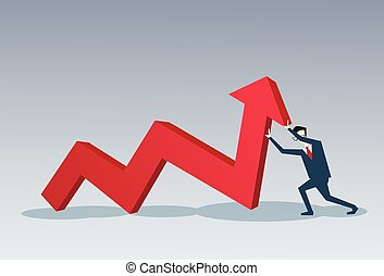 begreb, finansiel fremgang, firma, pil oppe, greb, rød, mand