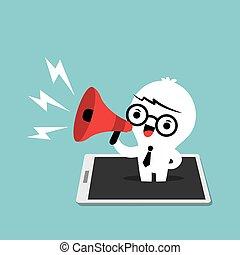begreb, firma, ambulant, markedsføring, oppe, affyre, telefon, megafon, raffineret, mand