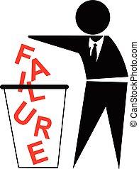 begreb, firma, held, væk kast, fiasko