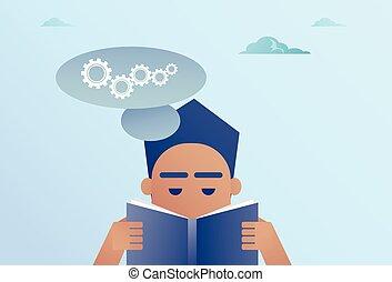 begreb, firma, proces, hjul, bog, summemøde, snakke, læsning, boble, mand