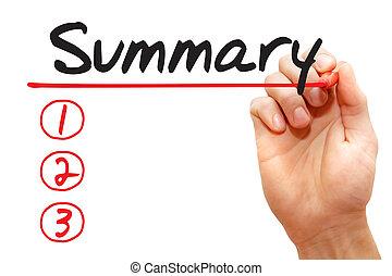 begreb, firma, resumé, hånd, liste, skrift