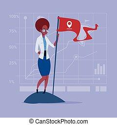 begreb, firma, succesrige, amerikaner flag, kvinde, afrikansk, greb, achievement