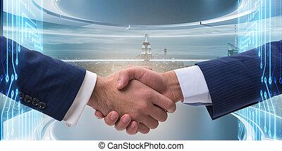 begreb, firma, to, samarbejde, hænder ryste