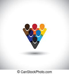 begreb, folk kontor, samfund, retskaffenhed, netværk, og, -, medier, også, enhed, vector., internet, farverig, viser, online, ansatter, det gengi'r, grafik, stab, denne, osv., samfund, sociale