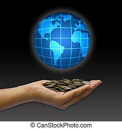 begreb, globe., mønt, hånd
