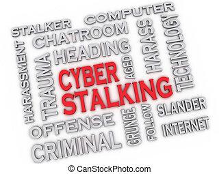 begreb, glose, image, cyber, stalking, udstede, baggrund, sky, 3